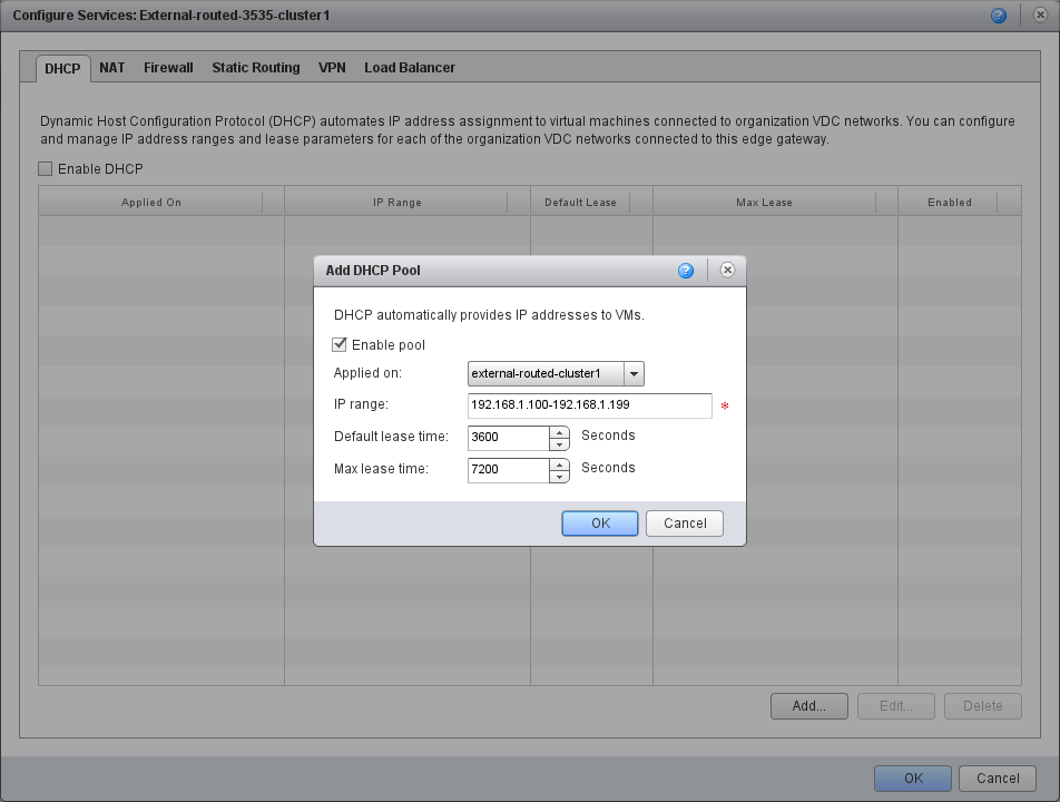 DHCP pool felvétele